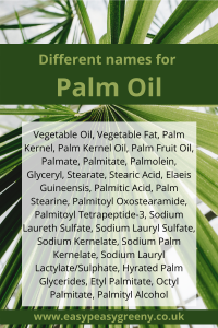 Different names for palm oil